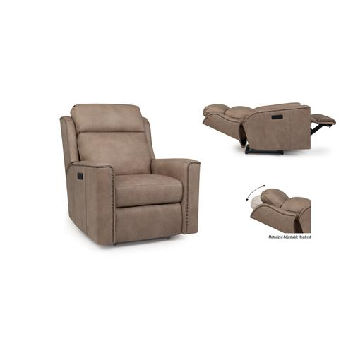 Smith Brothers Furniture - Leather Motorized Reclining Chair / Headrest