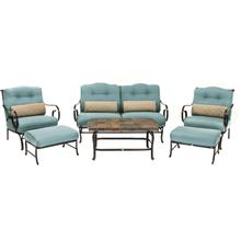 Oceana 6 Pc. Seating Set - Sofa, Two Chairs, Two Ottomoans, and a Coffee Table