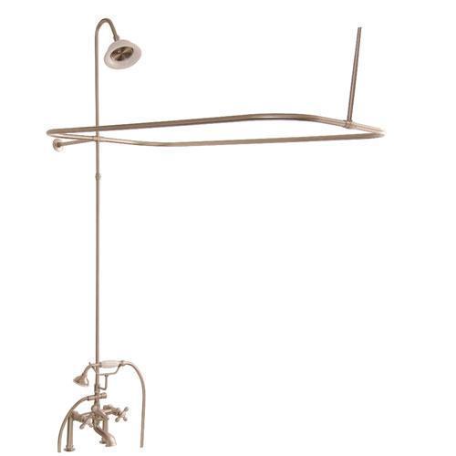 Tub/Shower Converto Unit - Elephant Spout, Shower Ring, Riser, Showerhead - Cross / Brushed Nickel
