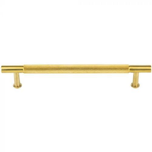 Vesta Fine Hardware - Beliza Knurled Bar Pull 6 5/16 Inch (c-c) Unlacquered Brass Unlacquered Brass