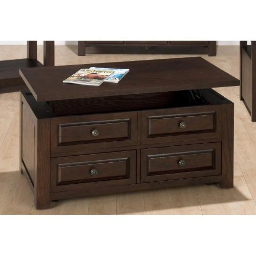 Cocktail Table W/ Lift-top, 2 Faux, 2 Pull-thru Drawers and Casters
