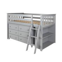 See Details - Twin Loft + Dresser + Bookcase Grey