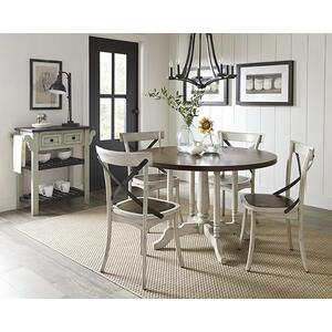 Round Dining Table - Gingerbread/White Finish