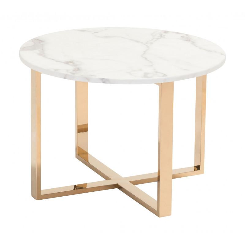 Globe End Table White & Gold