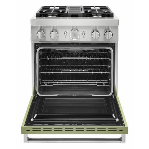 KitchenAid Canada - KitchenAid® 30'' Smart Commercial-Style Dual Fuel Range with 4 Burners - Matte Avocado Cream