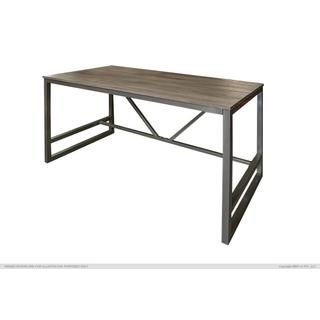 See Details - Writing Desk w/Wood Top & Iron Base