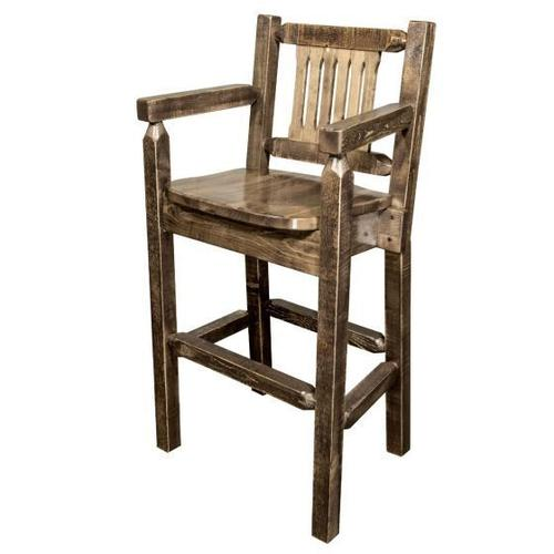 Homestead Collection Captains Barstool with Back, Stained and Lacquer Finish
