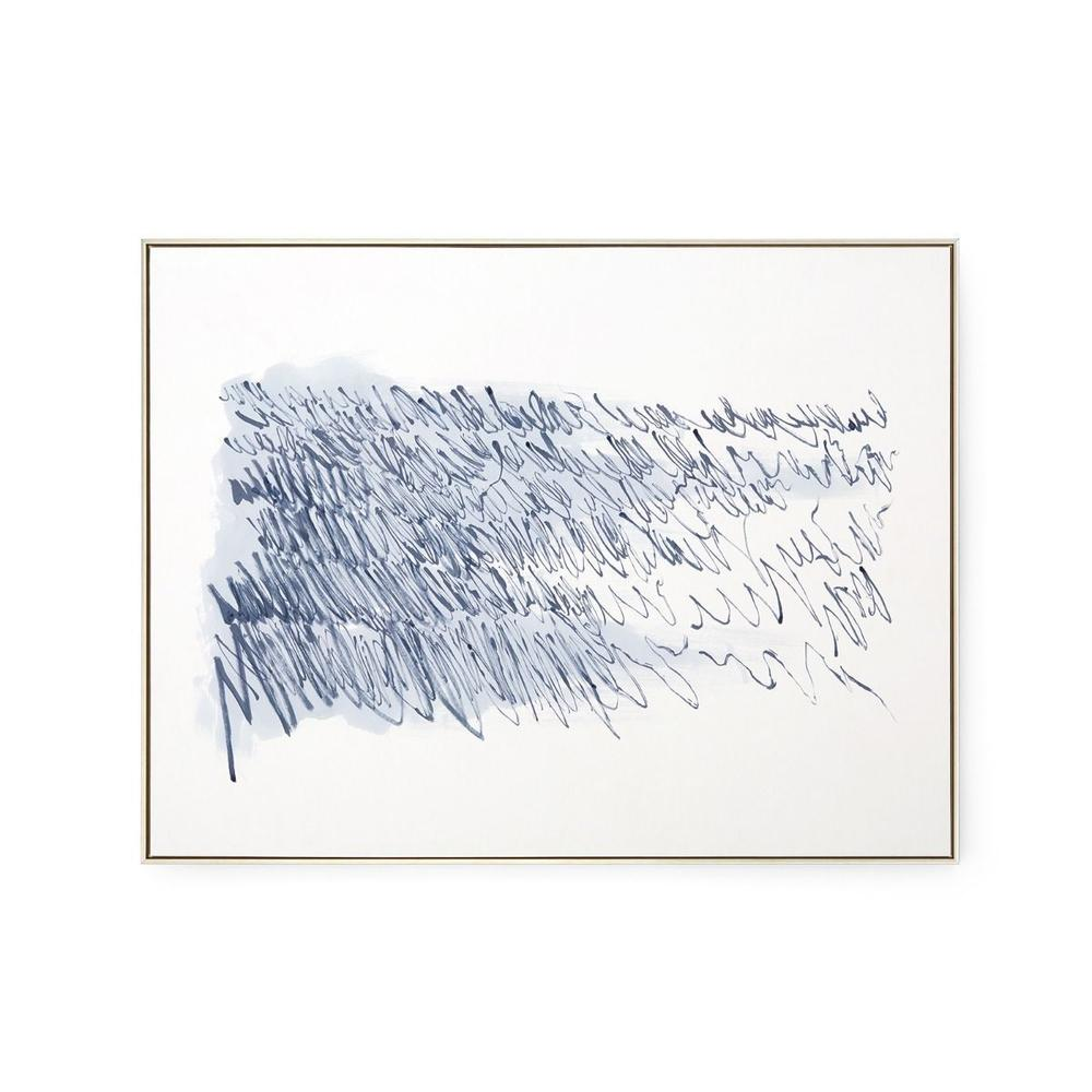 See Details - Agean Diary Framed Silk Panel, Navy Blue