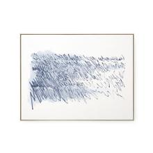 View Product - Agean Diary Framed Silk Panel, Navy Blue