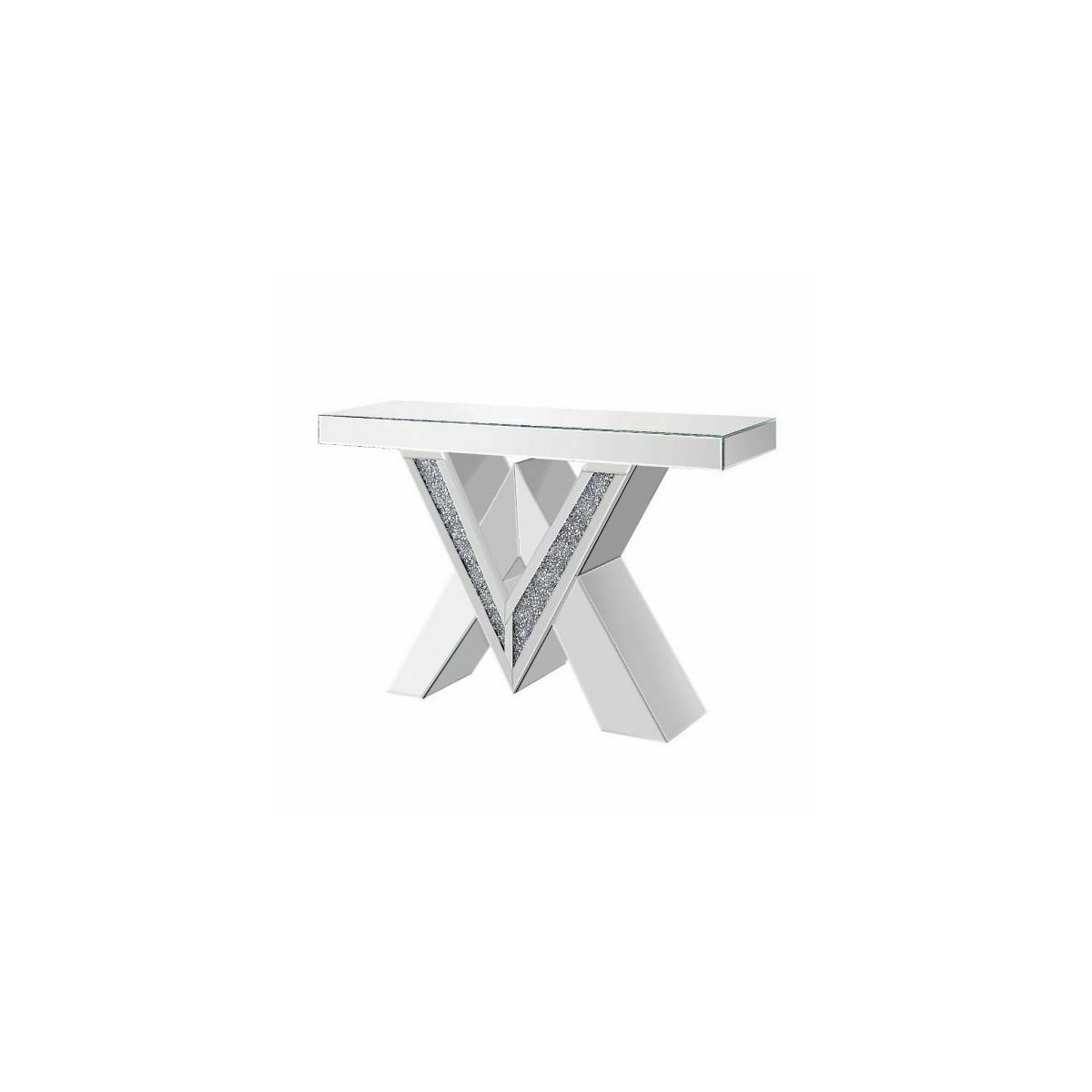ACME Noralie Console Table - 90444 - Mirrored & Faux Diamonds