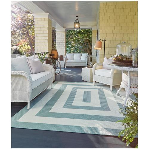 Cabana Stripes Sugar Blue Braided Rugs