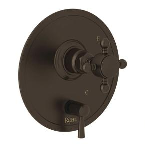 Pressure Balance Trim with Diverter - Tuscan Brass with Cross Handle