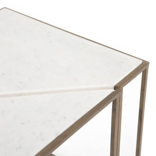 Polished White Finish Jaz End Table