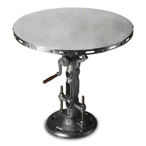 With its wood-handled crank that actually raises and lowers the tabletop, its pipe pedestal anchored by extra-strength nuts and bolts, and its pure iron construction, this table presents a shimmering ideal of an industrial past. It will not only be the br