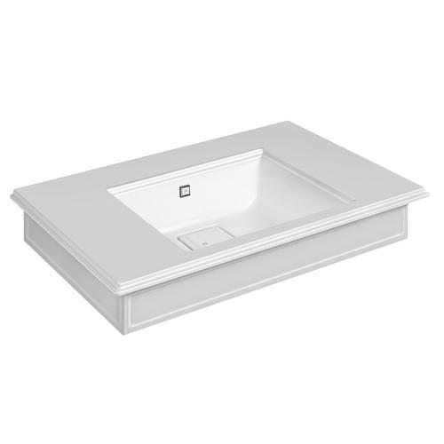 "Wall-mounted or counter-top washbasin in Cristalplant® with overflow waste Matte white 20-9/16"" L x 35-7/16"" W x 5-7/8"" H Ove rflow cap in finish 031 chrome - see 46763 for more finish options Includes Cristalplant drain cover May be drilled on-site fo r single or 3 hole washbasin mixer CSA certified"