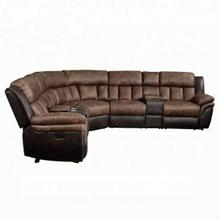 ACME Jaylen Sectional Sofa (Motion) - 55430 - Contemporary - Polished Mfb, Frame: Wood (Hemlock/Fir, Ply), Foam (D28), Metal Reclining Mechanism - Toffee and Espresso Polished Microfiber
