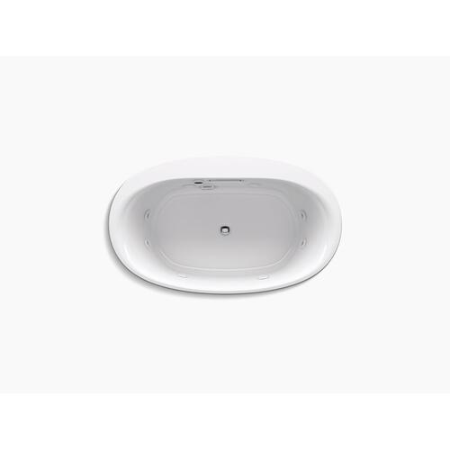 "White 60"" X 36"" Heated Whirlpool Bath With Center Drain"