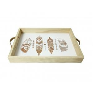 Tray With Gold Stamped Feathers