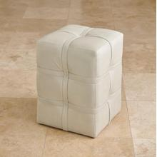 See Details - Belted Poof-Light Grey Marbled Leather