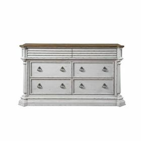 ACME York Shire Dresser - 28275 - Country-Cottage, Provincial - Wood (Poplar), Wood Veneer (Hickory), MDF, PB, Ply - Antique White and Dark Charcoal