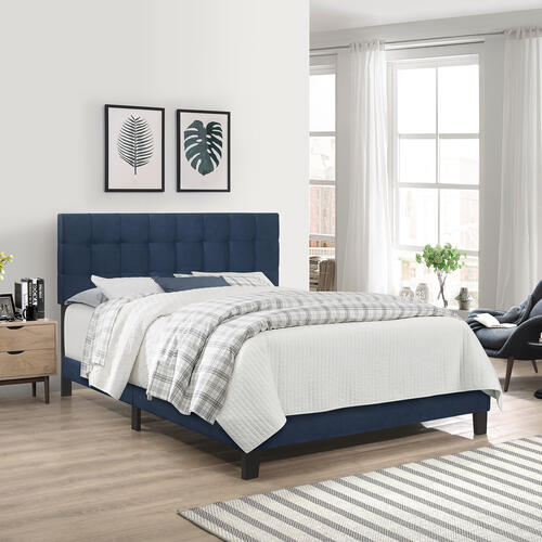 Delaney Upholstered Full Bed, Blue Velvet