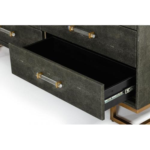 VIG Furniture - Modrest Howard - Modern Shagreen Grey Leatherette & Gold Dresser