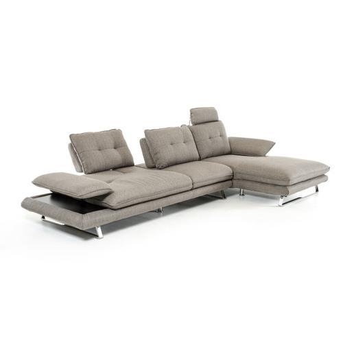 VIG Furniture - Divani Casa Porter - Modern Grey Fabric Right Facing Sectional Sofa