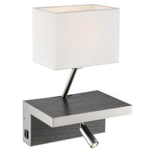 See Details - Wall Lamp, Charcoal/bn/white Linen, W/usb Port, A 60w&led 3w