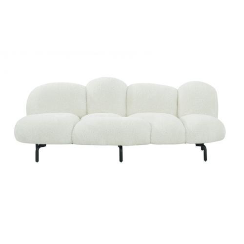 """VIG Furniture - Divani Casa Glaster - Contemporary White Sherpa 88"""" Bubble Sofa"""