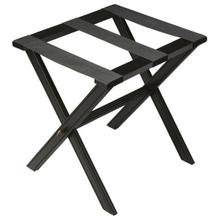 See Details - Perfect for any bedroom or walk-in closet, this luggage rack is ready when needed. The black licorice finished solid wood frame features elegant carving on the stretcher base and legs with three heavy duty cloth straps. Folds away for convenient storage.