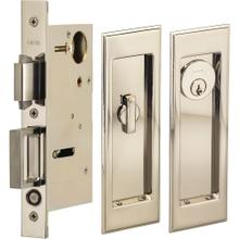 Pocket Door Lock with Traditional Rectangular Trim featuring Turnpiece and Keyed Entry in (US14 Polished Nickel Plated, Lacquered)