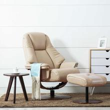 Lund Recliner & Ottoman in Cobble Air Leather