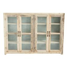 """See Details - Approximately 55""""L x 9""""D X 40""""H Reclaimed Wood w/ Metal Back Cabinet w/ 4 Glass Doors & 3 Shelves"""