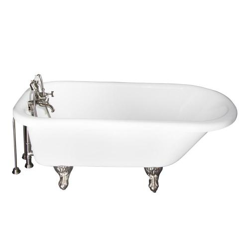 "Anthea 60"" Acrylic Roll Top Tub Kit in White - Brushed Nickel Accessories"