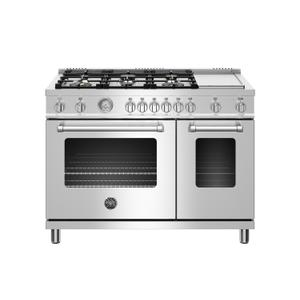 48 inch All Gas Range, 6 Brass Burner and Griddle Stainless Steel Product Image