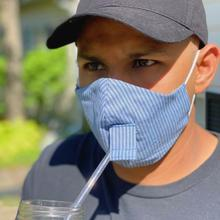See Details - Happy Hour Reusable Face Mask in Denim Stripe