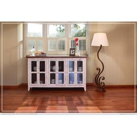 """See Details - 73"""" Console w/6 Glass Doors - White Finish"""
