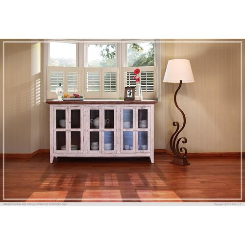 "73"" Console w/6 Glass Doors - White Finish"