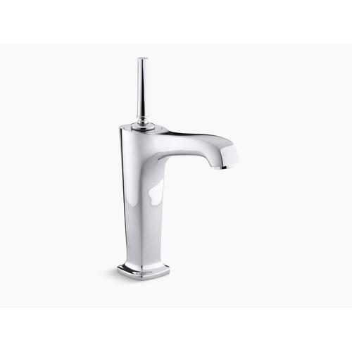 """Polished Chrome Single-hole Bathroom Sink Faucet With 6-3/8"""" Spout and Lever Handle"""