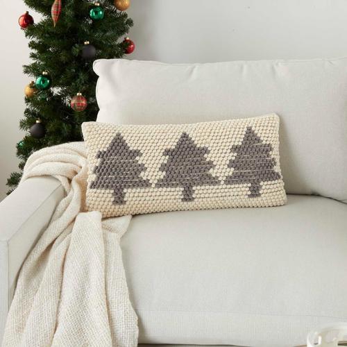 "Holiday Pillows Dc569 Ivory/grey 12"" X 24"" Throw Pillow"