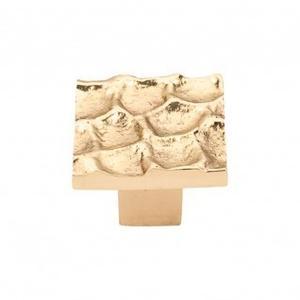 Cobblestone Square Knob 1 3/8 Inch - Polished Brass