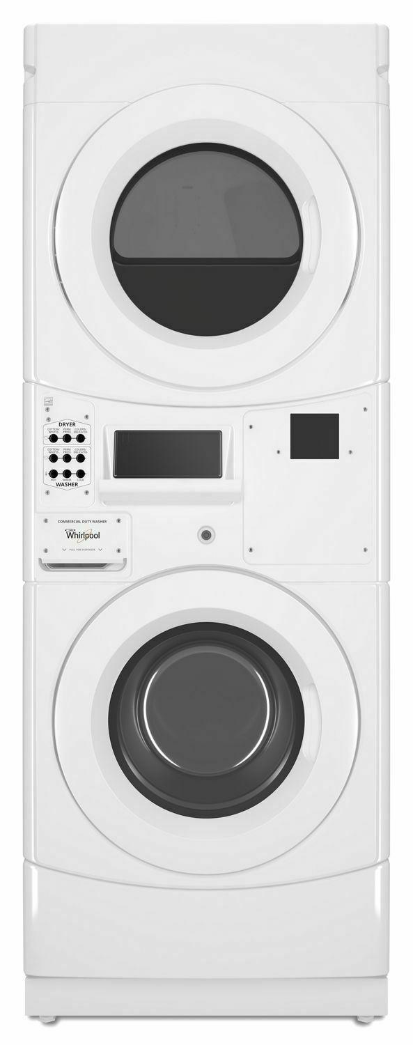 Commercial Gas Stack Washer/Dryer, Card Reader-Ready White