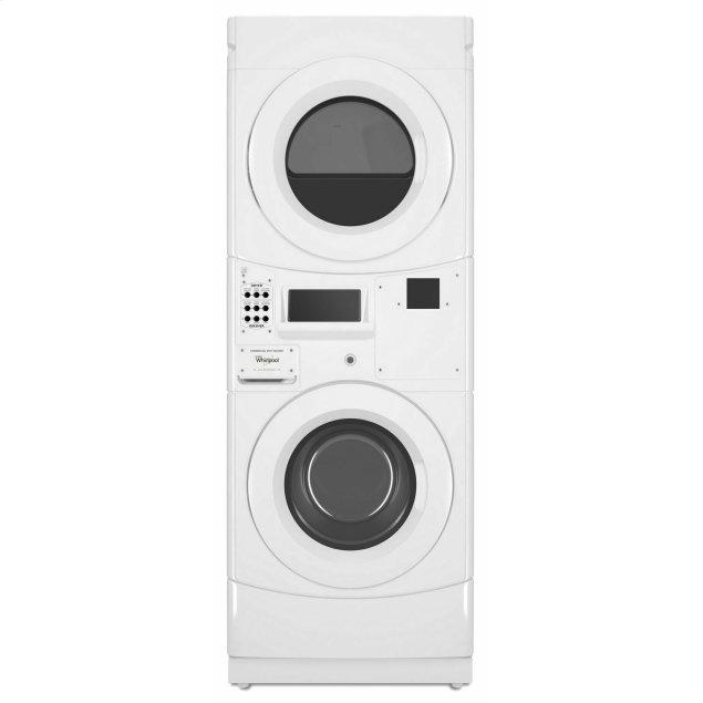 Whirlpool Commercial Gas Stack Washer/Dryer, Card Reader-Ready White