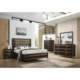 ACME Tablita Queen Bed - 27460Q - Fabric & Dark Merlot