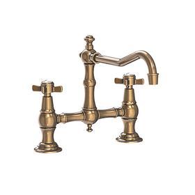 Antique Brass Kitchen Bridge Faucet