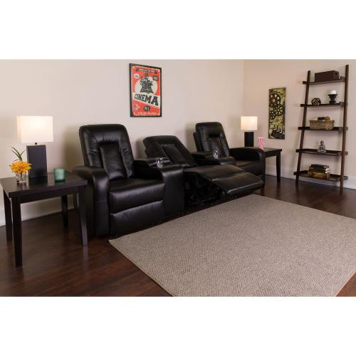 Alamont Furniture - 3-Seat Reclining Black Leather Theater Seating Unit with Cup Holders
