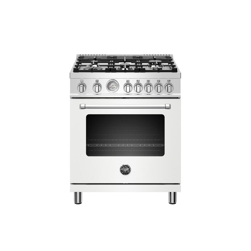30 inch All Gas Range, 5 Burners Bianco Matt