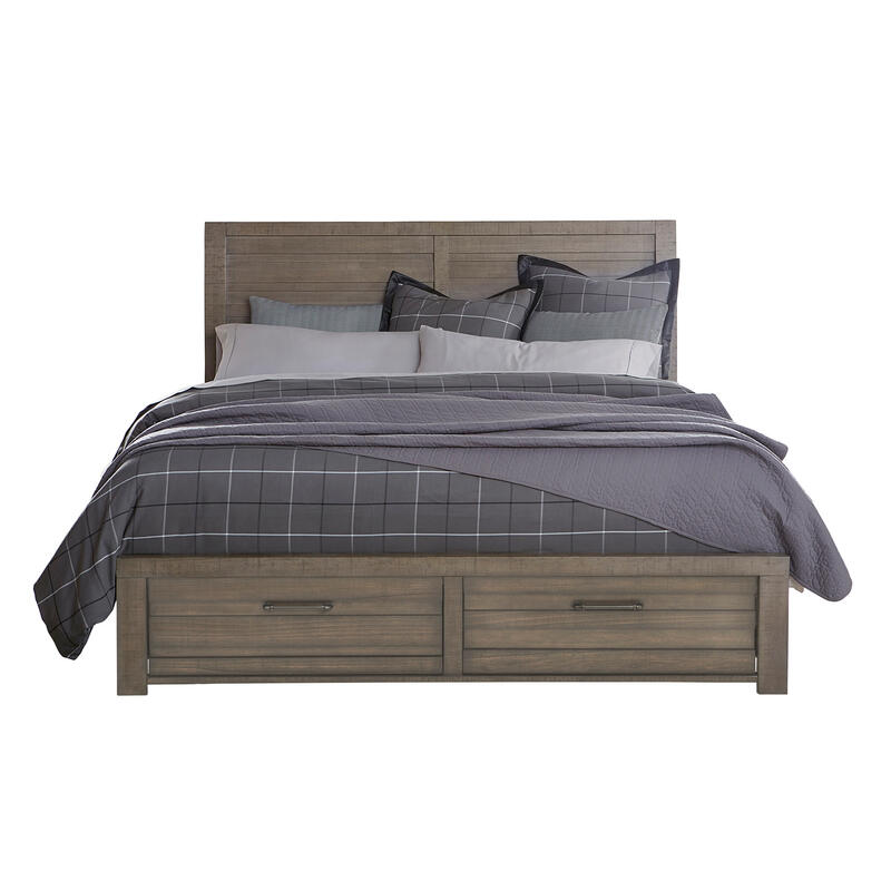 Ruff Hewn King/Califirnia king Panel Bed Storage Footboard in Weathered Taupe