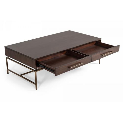 Gallery - Modrest Nathan - Modern Acacia & Brass Coffee Table