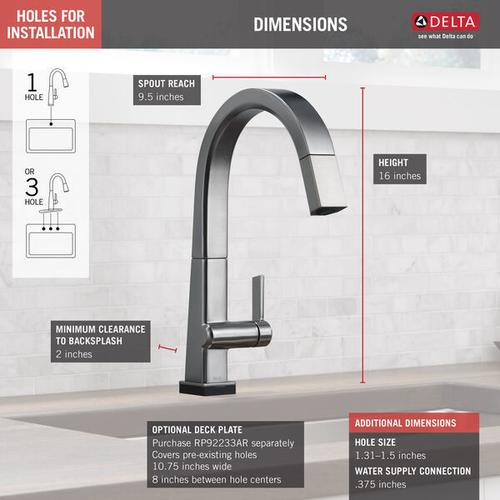 Arctic Stainless Single Handle Pull Down Kitchen Faucet with Touch 2 O ® Technology